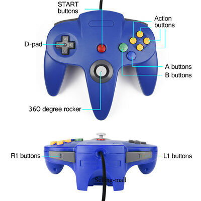 N64 Controller Joystick Gamepad Long Wired for classic Nintendo 64 Console Games 6