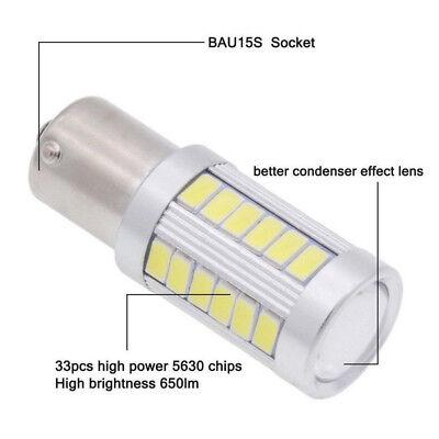 2PCS Bianco BA15D 33SMD LED 1157 Auto Coda Freno Stop Coda Lampadina Globo 12v 11