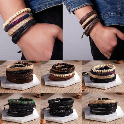 4Pcs Punk Multilayer Leather Bracelet Men's  Women Wristband Bangle Jewelry Set 4