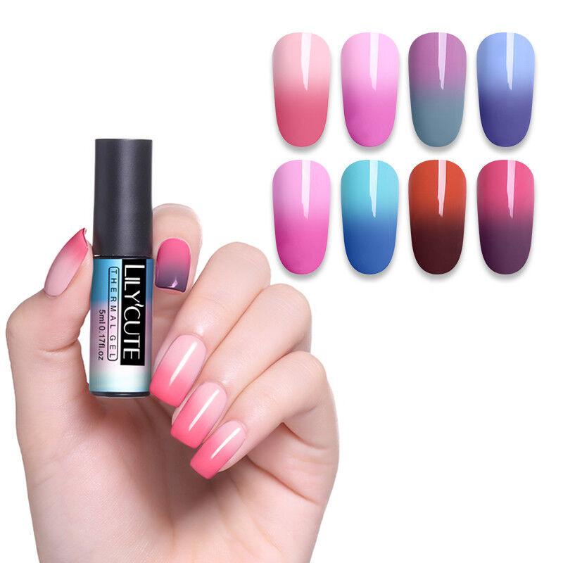 5ml LILYCUTE Nail Art Vernis à Ongles Semi Permanent Gel UV Thermal Gel Polish 12