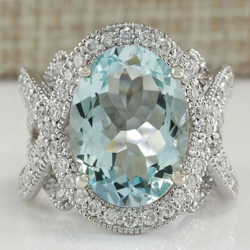 925 Sterling Silver Rings Aquamarine Flower Drop Rings Wedding Jewelry Size#6-10 8