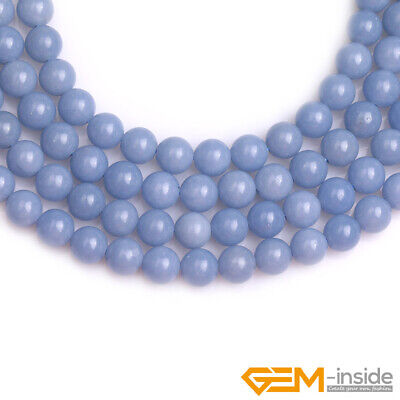 """Natural Blue Angelite Stone Round Loose Beads for Jewelry 15"""" 6mm 8mm 10mm 12mm 6"""