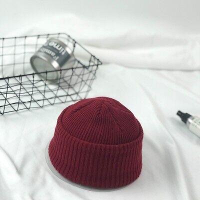 4442959b89c ... Men Knitted Hat Beanie Skullcap Sailor Cap Cuff Brimless Vintage Solid  Grey Warm 10