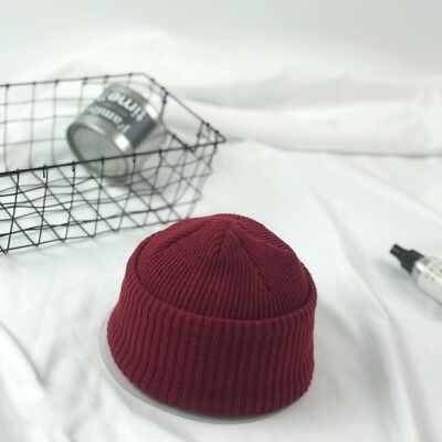 ... Men Knitted Hat Beanie Skullcap Sailor Cap Cuff Brimless Vintage Solid  Grey Warm 10 f4c2621d84a3