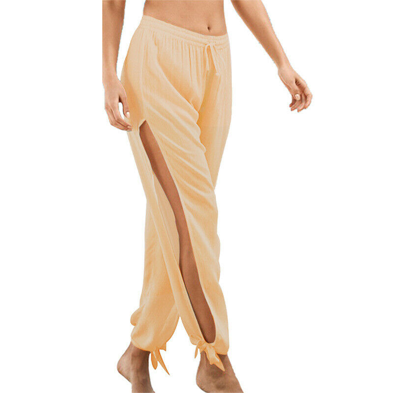132ddd05db Women's Side Slit Elastic Wide Leg Casual Baggy Pants Summer Beach Long  Trousers 7 7 of 7 See More