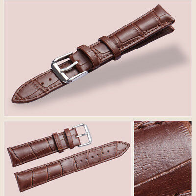 Mens Genuine Leather Watch Strap Band  Black Brown 14mm 16mm 18mm 20mm 22mm 24mm 5