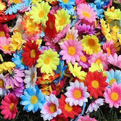 100pcs Silk Artificial Gerbera Daisy Chrysanthemum Flowers Sunflower Head DIY 5