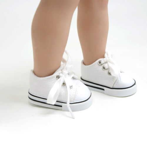 Handmade Canvas White Shoes for 18inch Doll Cute Baby Kids Toys 3