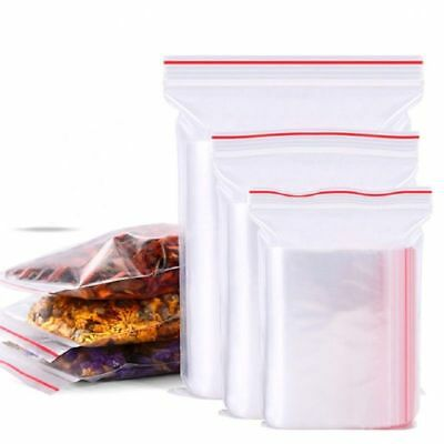 100 Grip Resealable Zip Lock Bags Self Seal Clear Plastic Poly Ziplock Bag 9Size 3