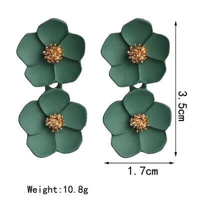 Fashion Crystal Women Flower Drop Dangle Earrings Ear Stud Jewelry Double Layer 12