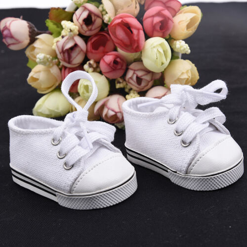 Handmade Canvas White Shoes for 18inch Doll Cute Baby Kids Toys 6
