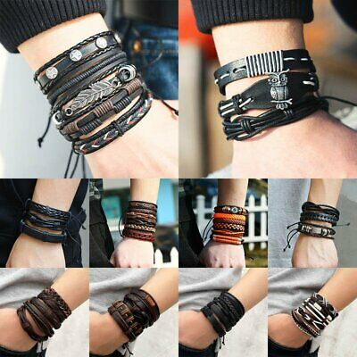 6pcs/set Multilayer Leather Bracelet Handmade Men Women Wristband Bangle Gifts 4
