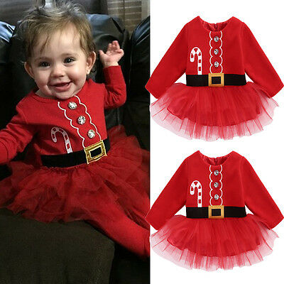 UK Stock Kids Baby Girl Clothes XMAS Santa Claus Party Tulle Tutu Dress Outfits 4