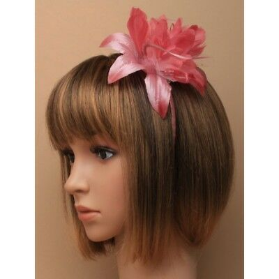 Flower Feather Alice Band Fascinator Headband Wedding Race Ascot Ladies Day Prom 2