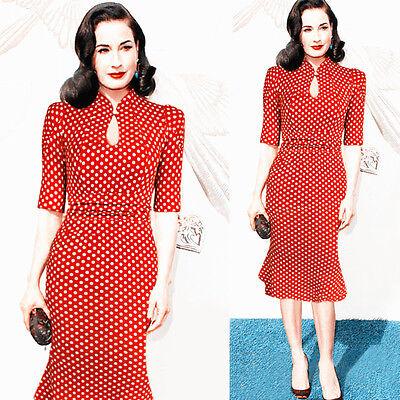 Stile Vintage 50s 40s Cele Office Donna Tubino Aderente Party Retro Sirena Abito 3