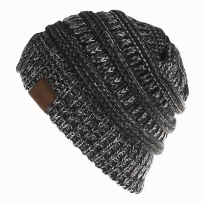 Women's Ponytail Beanie Ribbed Winter Messy Bun Cable Warm Soft Knit Hat AU 6