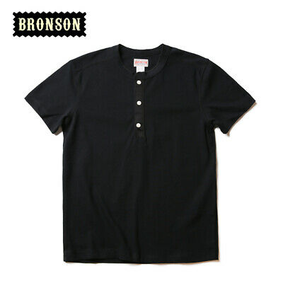 Bronson Henley Tee Shirts For Men Summer Vintage Cotton T-Shirts Short Sleeve 3