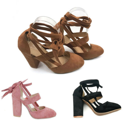 986e75352b48 1 of 11FREE Shipping Womens Block High Heels Ankle Strap Sandals Lace Up  Peep Toe Prom Party Shoes