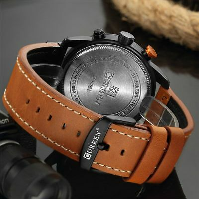 Men Waterproof Leather Aviator Army Military Chronograph Date Quartz Wrist Watch 10