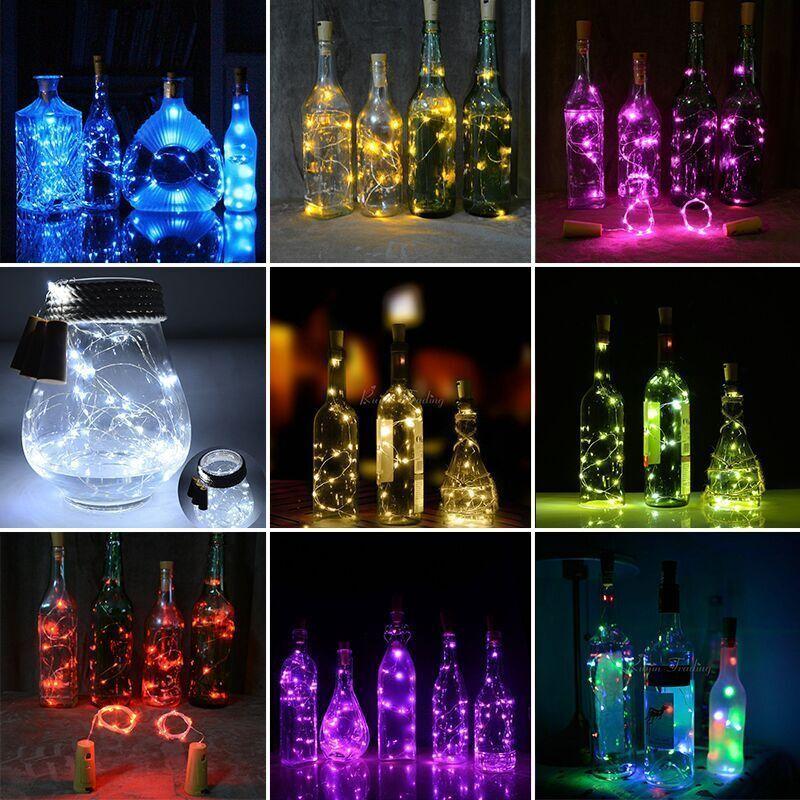 20 LED Colorful Wine Bottle Cork Shape Lights Night Fairy String Light Lamp 1.5M