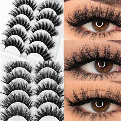 5Pair 3D Mink False Eyelashes Wispy Cross Long Thick Soft Fake Eye Lashes  UK 2