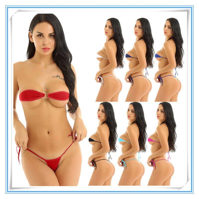 US Women Micro Swimwear Bikini Set Bathing Mesh Tube Bra Top G-string Beachwear