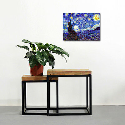 Starry Night by Van Gogh Fine Art Print Painting Reproduction on Canvas Framed 7