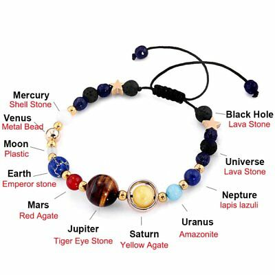 Universe Planets Bead Bangles Natural Solar System Energy Bracelet For Women Men 5