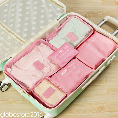 6pcs Travel Bags Waterproof Clothes Storage Luggage Organizer Pouch Packing Cube 4
