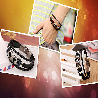 Brilliant  Punk Unisex Women Men Wristband Metal Studded Leather Bracelet 8