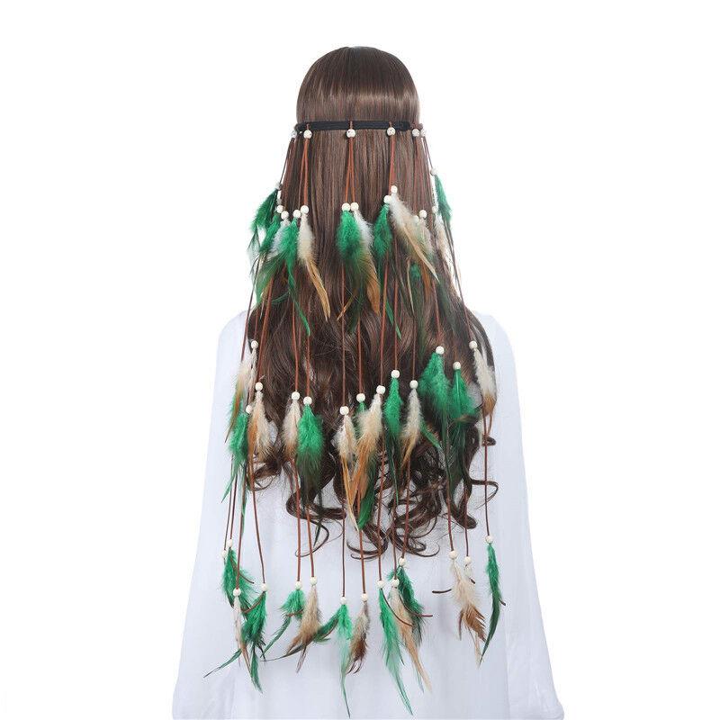 Indian Women's Hippie Feather Tassel Headband Weave Hairband Dress Costume 4