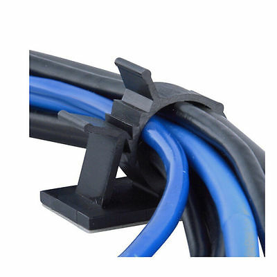10x Cable Clips Adhesive Cord Management Black Wire Holder Organizer Clamp 2