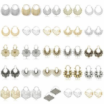 Boho Women Jewelry Holiday Gypsy Tribal Ethnic Mandala Hollow Hoop Earrings Gift 10