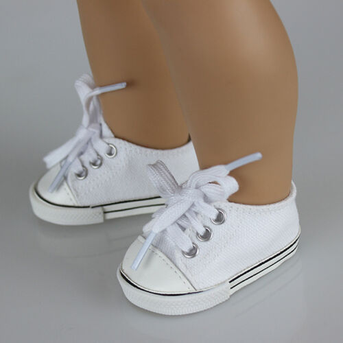 Handmade Canvas White Shoes for 18inch Doll Cute Baby Kids Toys 2