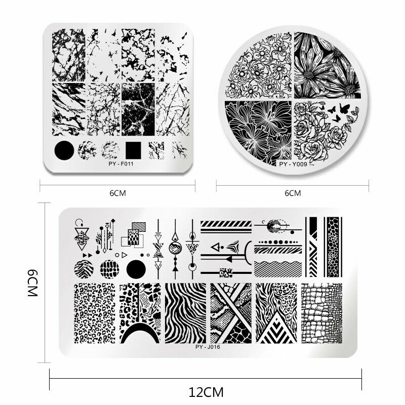 PICT YOU Nail Stamping Plates Christmas Fowers Tropical Geometry Image Templates 4