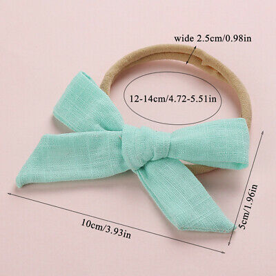 Kids Baby Toddler Cotton Linen Nylon Bow Headband Solid Hairband Hair Ring #N 6