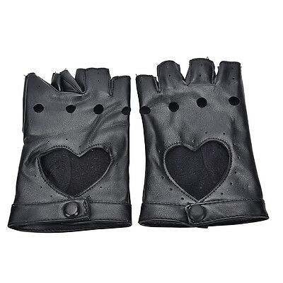 Women Punk Leather Driving Biker Fingerless Mittens Dance Motorcycle Gloves V_MR 9