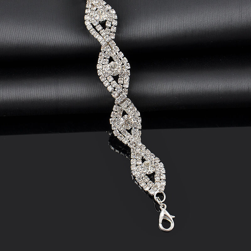 Elegant Deluxe  Women Crystal Rhinestone Infinity Bangle Bracelet Jewelry Gift 3