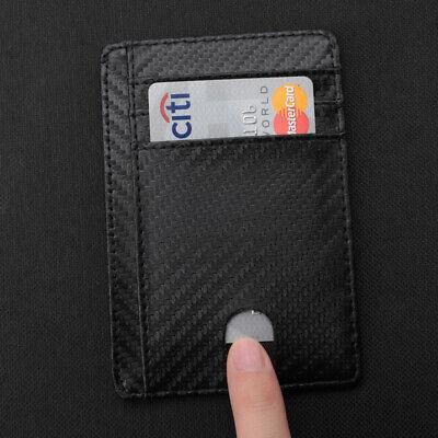 New Genuine Leather Slim Card Holder Wallets For Men - Minimalist RFID Blocking 10