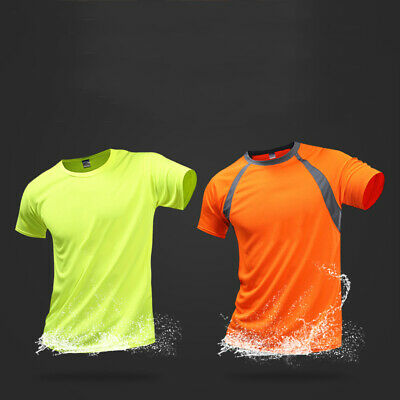 Mens Mans Breathable Quick Dry Athletic Wicking Smooth Polyester T-Shirt Tee 2