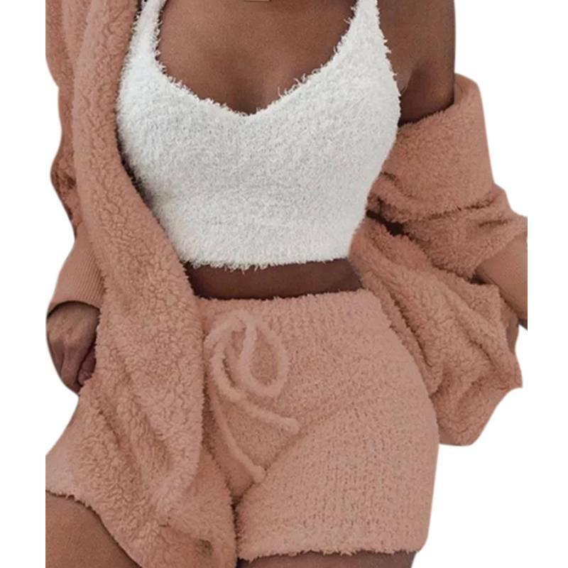 Women Fleece Sleepwear Hoodie Jacket + Crop Top + Shorts 3PCS Outfits Loungewear 8