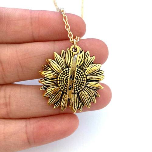 You are my sunshine Open Locket Sunflower Pendant Chain Necklace Jewelry Gift US 4
