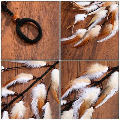 Boho Women's Long Feather Hair Scrunchies Weaving Hair Rope Rubber Band Ponytail 3
