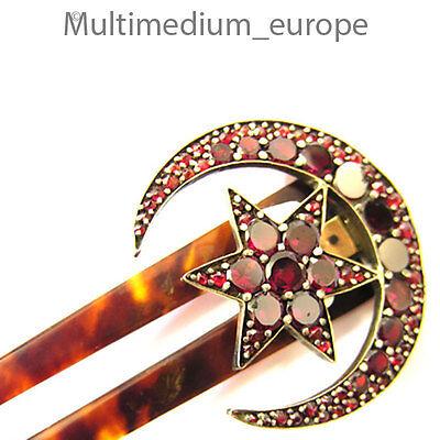 Historismus Steck kamm Granat Tombak Horn um 1900 Mond Stern antik comb antique