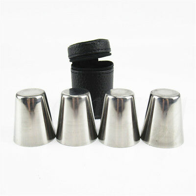 4pcs Camping / Travel Stainless Steel Shot Glass Set with PU Leather Case Cover 2