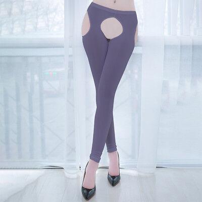 Women IceSilk Shiny Open Crotch Long Sheer Pants See Through Elastic Leggings * 3