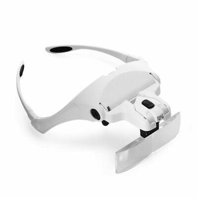 Occhiali con Lente di Ingrandimento 5 Lenti e Luci LED per Lavoro di Precisione 12