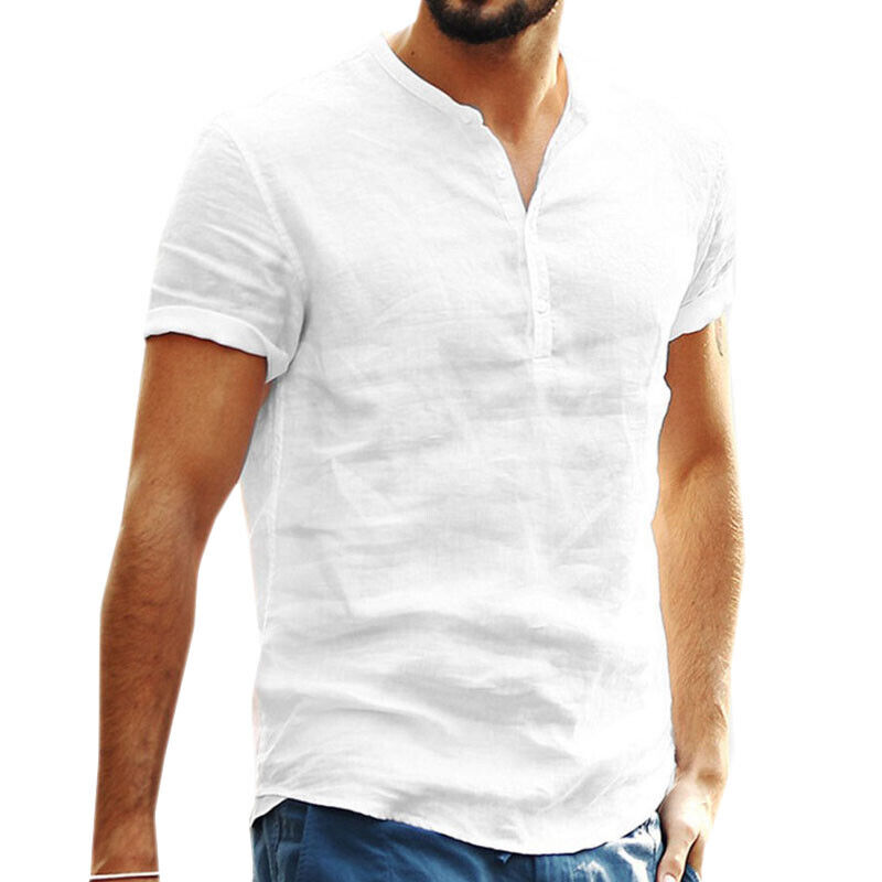 Mens Standing Collar Short Sleeve Soft Solid Tops Summer Beach Holiday T Shirts 4