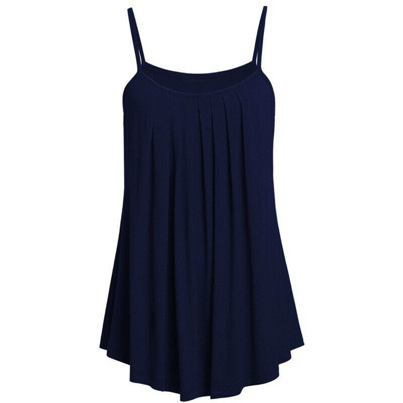 Boho Womens Ladies Cami Vest Swing Pleated Sleeveless Tank Tops Dress Size 8-24 6