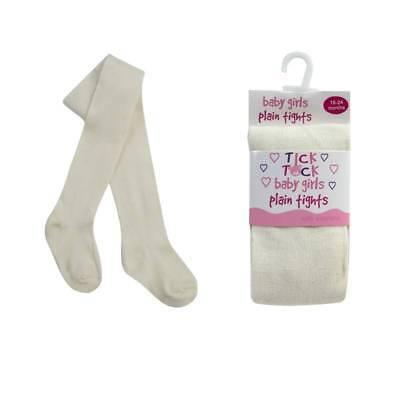 Baby Tick Tock Tights Cotton Rich  0-6 6-12 12-18 18-24m White Black Cream Grey